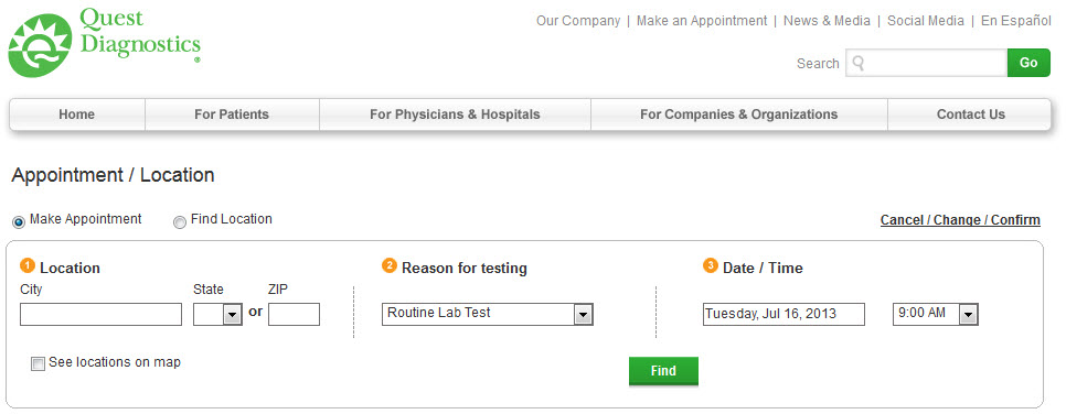 Appointment scheduling | Quest Diagnostics Employer Solutions
