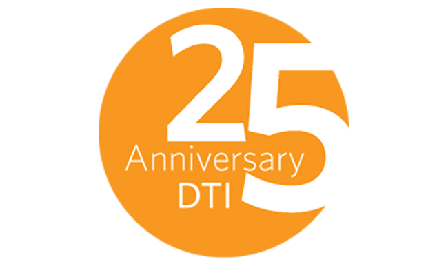 DTI 25th Anniversary seal