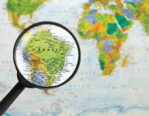 Magnifying glass showing Brazil