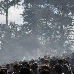 Concert with marijuana smoke in the air
