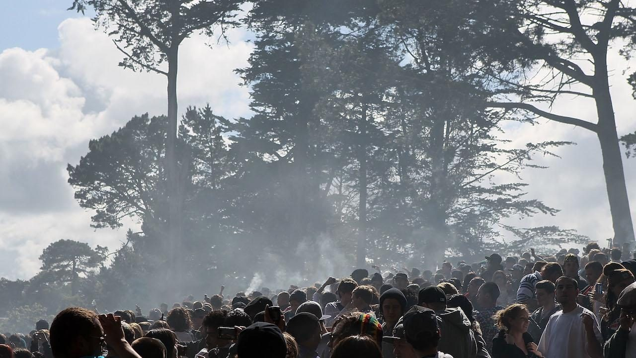 Concert with marijuana smoke in the air