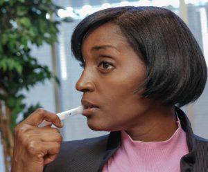 Woman taking an Oral-Eze drug test